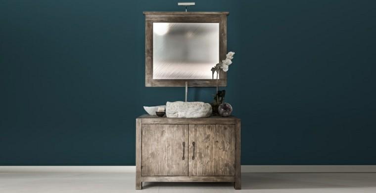 mueble baño madera espejo moderno