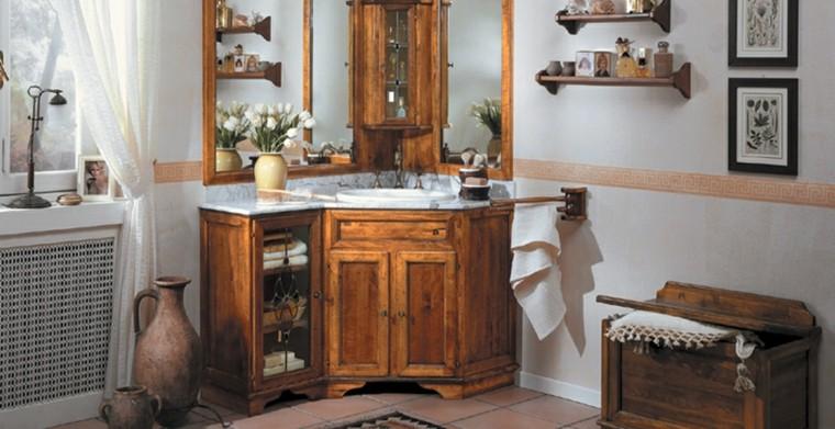 Cuartos de ba o rusticos 50 ideas con madera y piedra - Muebles de bano en esquina ...