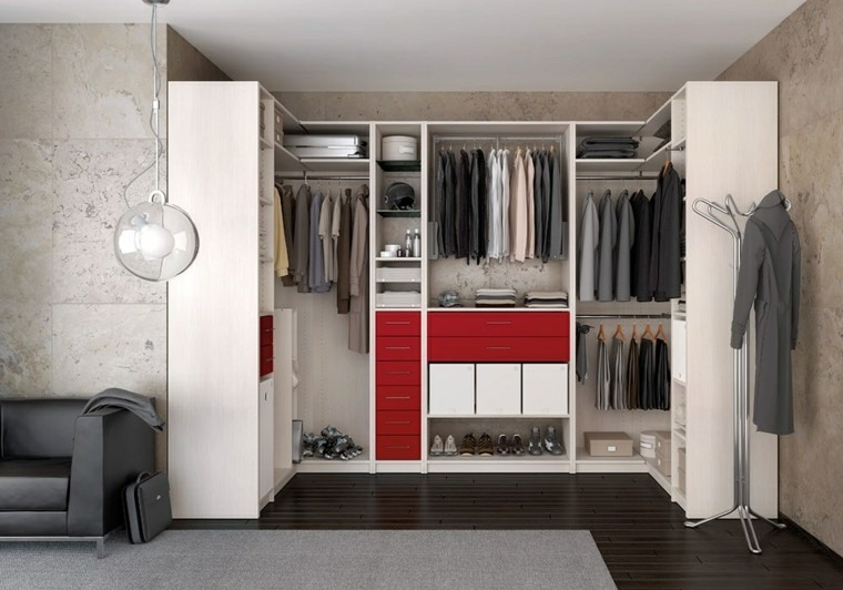 módulo vestidor cajones rojos