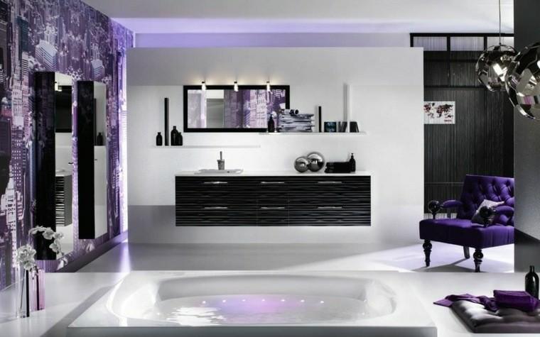 muebles baño elementos color violeta