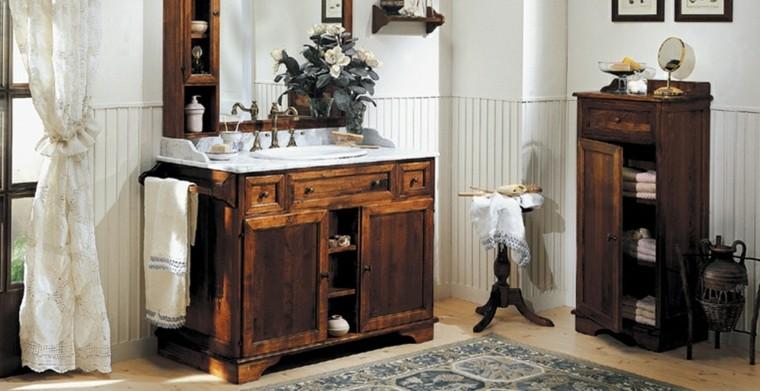 Cuartos de ba o rusticos 50 ideas con madera y piedra - Accessori bagno rustici ...