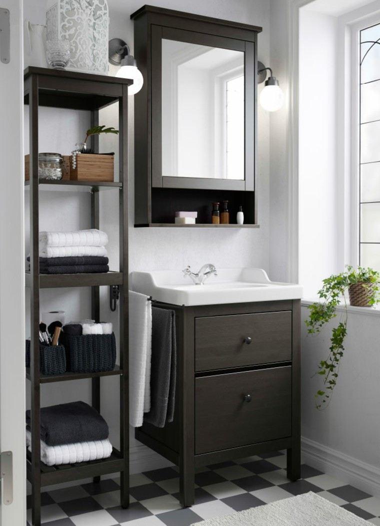 muebles baño madera marron oscuro