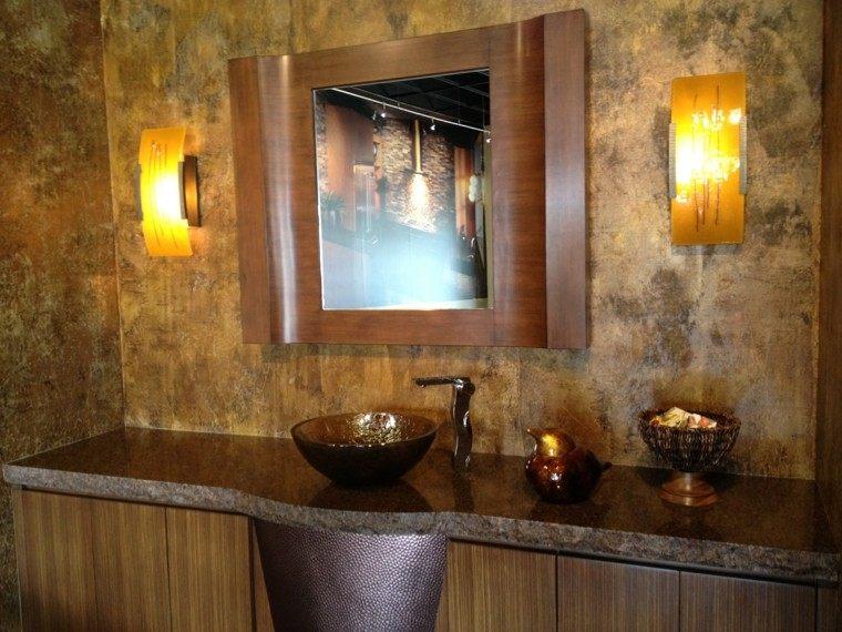 Cuartos de ba o rusticos 50 ideas con madera y piedra - Muebles de piedra ...