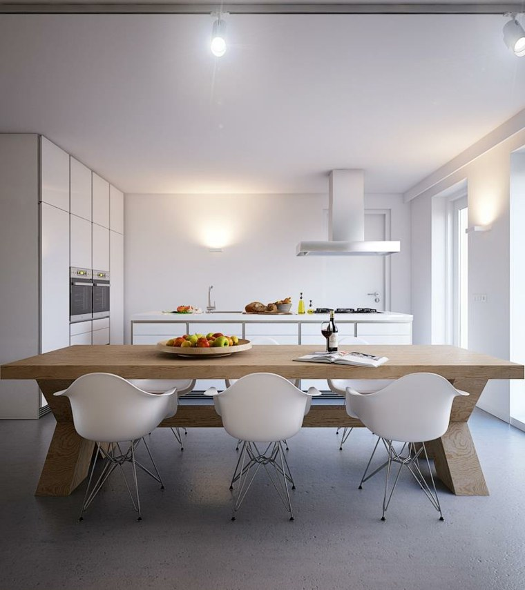 muebles blanco mesa madera led