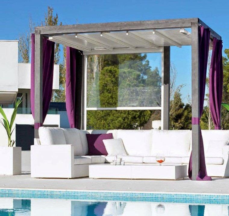 muebles blancos decorado piscina cama