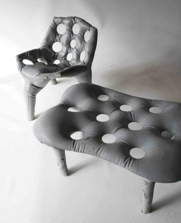 muebles cemento aspecto arrugado tela