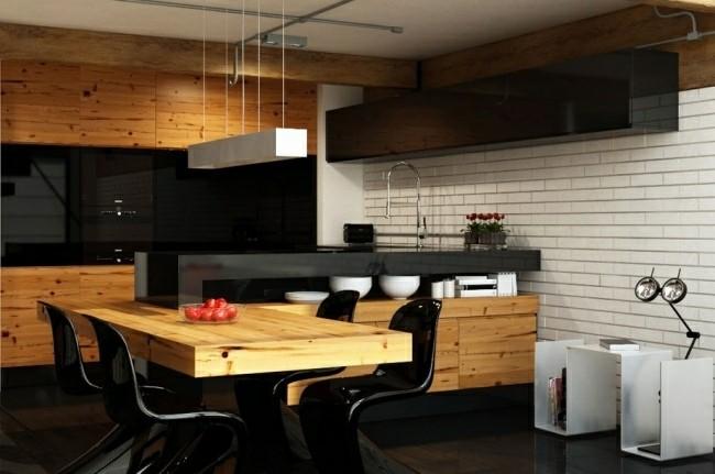 muebles cocina madera natural negro