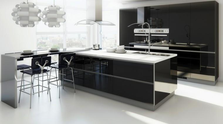 muebles cocina negros lacados brillo