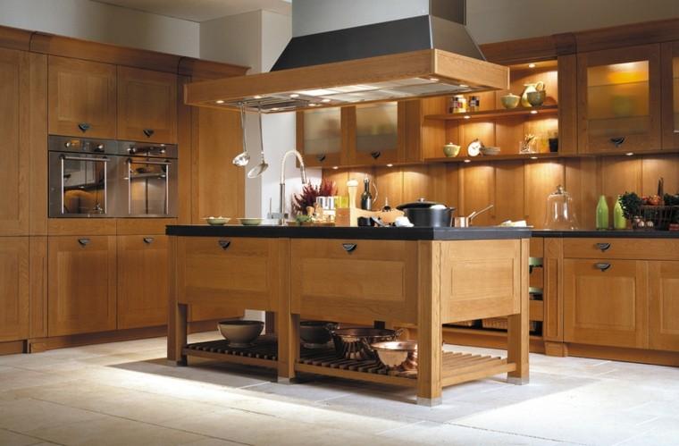 color blanco y madera de roble para las cocinas modernas. Black Bedroom Furniture Sets. Home Design Ideas