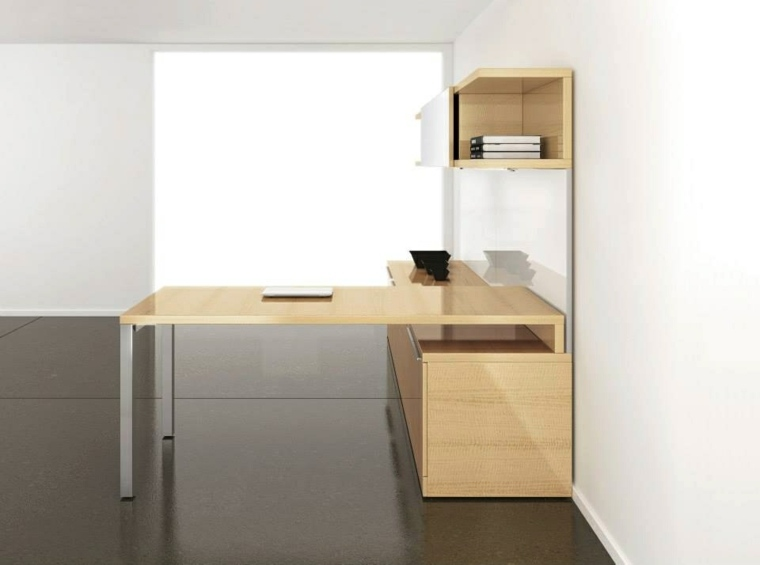 muebles despacho madera clara laminada