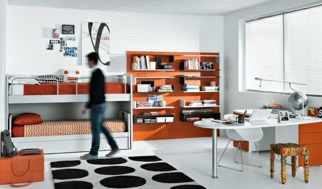 muebles dormitorio color naranja blanco