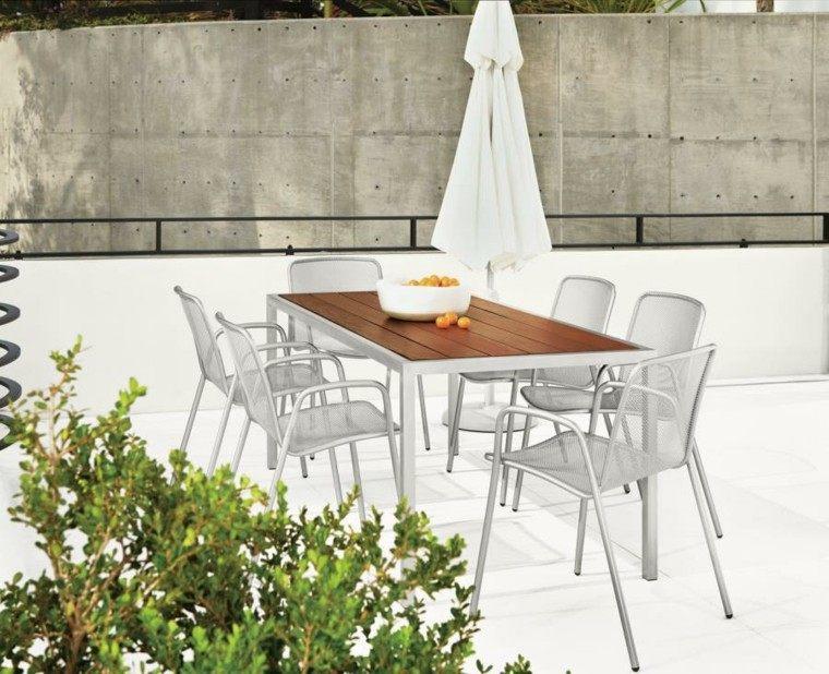 muebles exterior diseño patio sombrilla