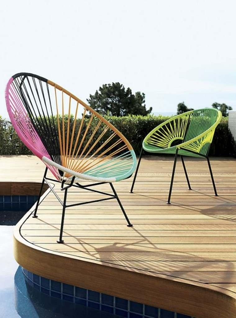 muebles exterior diseño silla terraza tejidas
