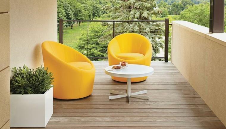 muebles exterior diseño sillones amarillo
