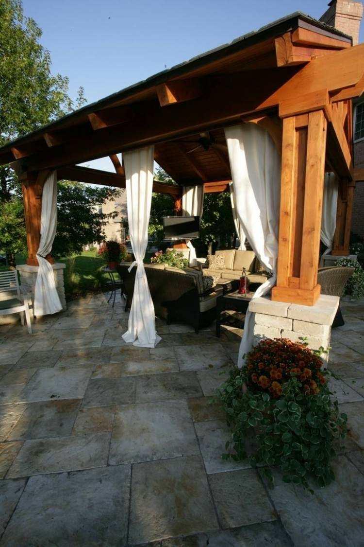 garden furniture pergola wood curtains
