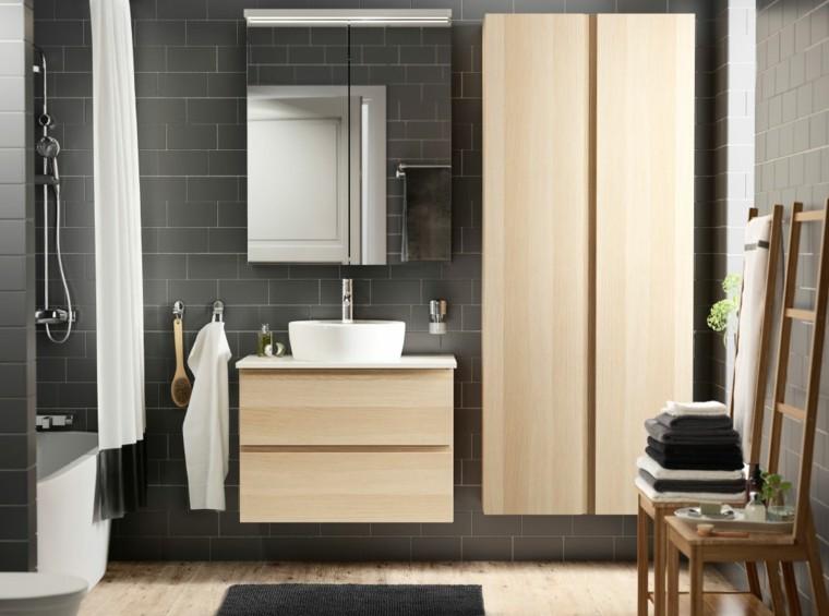 muebles madera azulejos color gris