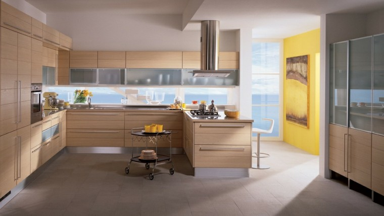 muebles cocina pared amarilla