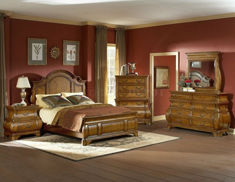 muebles madera pared roja natural