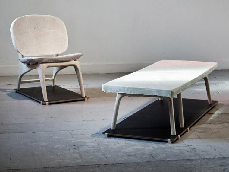 muebles modernos suelo cemento madera