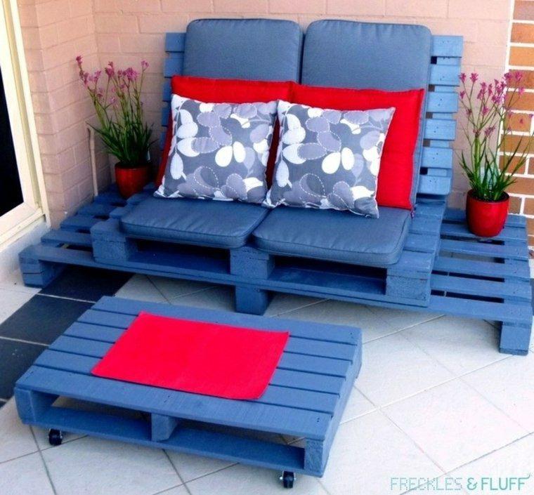 muebles palets pintados color azul