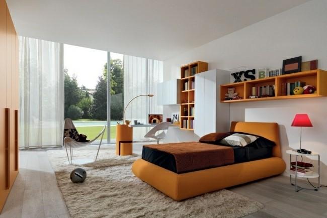 muebles habitación color naranja