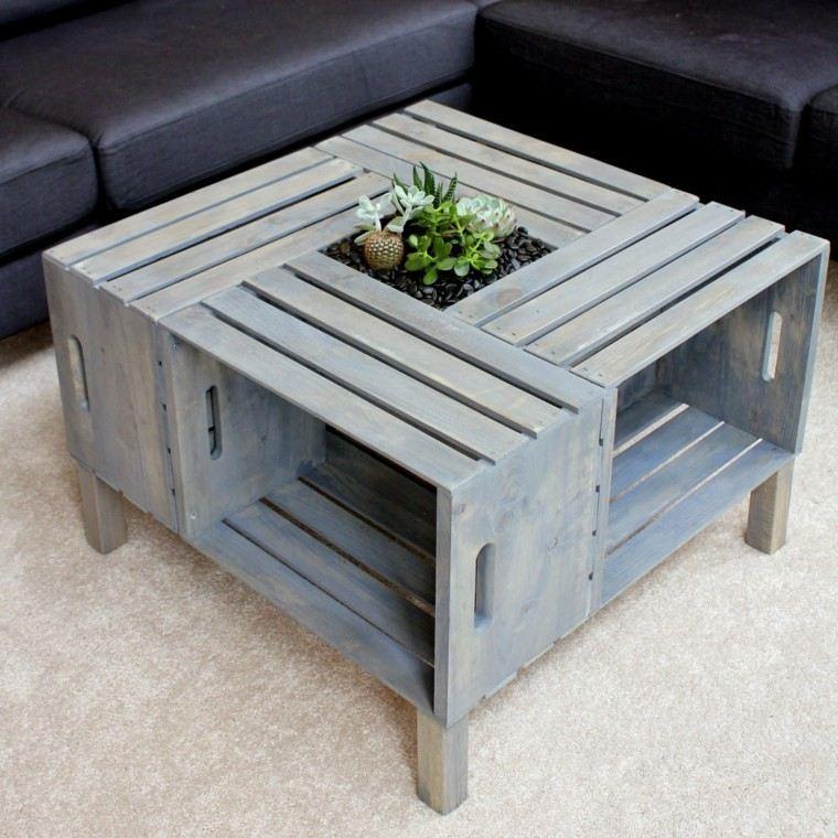 mesa cajas madera azul celeste