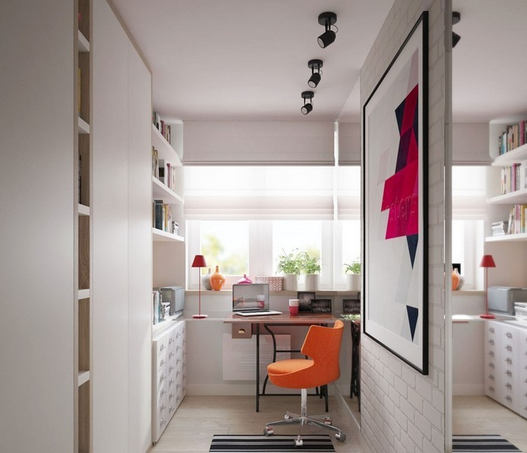 naranja diseño silla madera cuadros