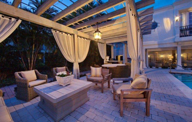 noche piscina decoracion muebles calido