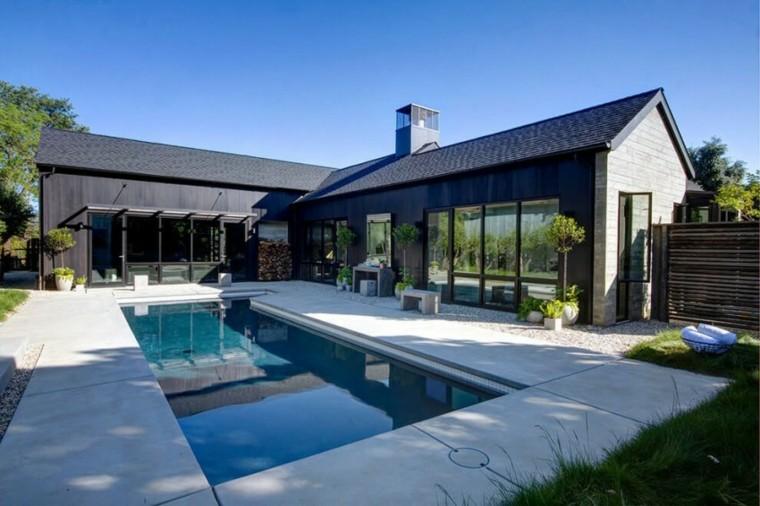 oasis moderno jardin piscina bancos hormigon ideas