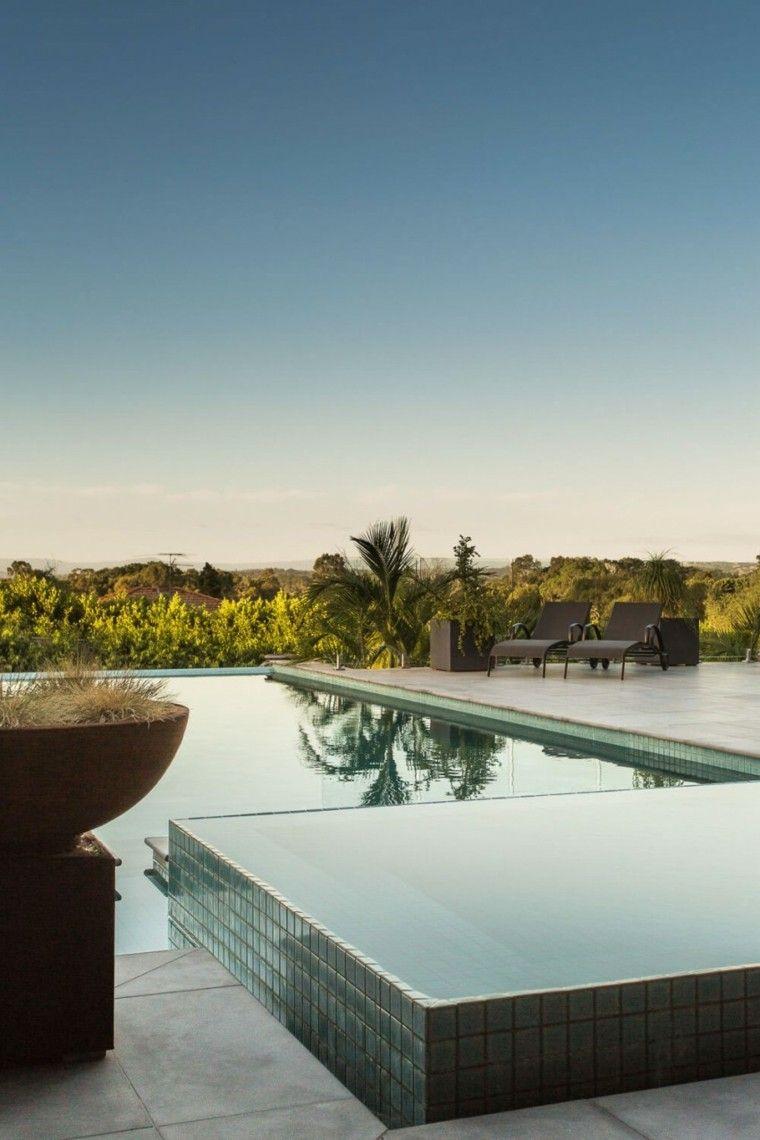 oasis moderno jardin piscina dos niveles maceta ideas