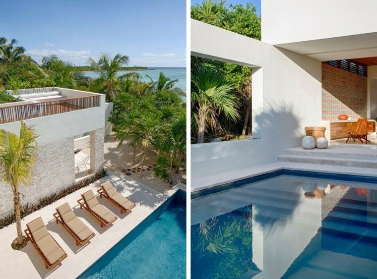 oasis moderno jardin piscina escaleras tumbonas ideas