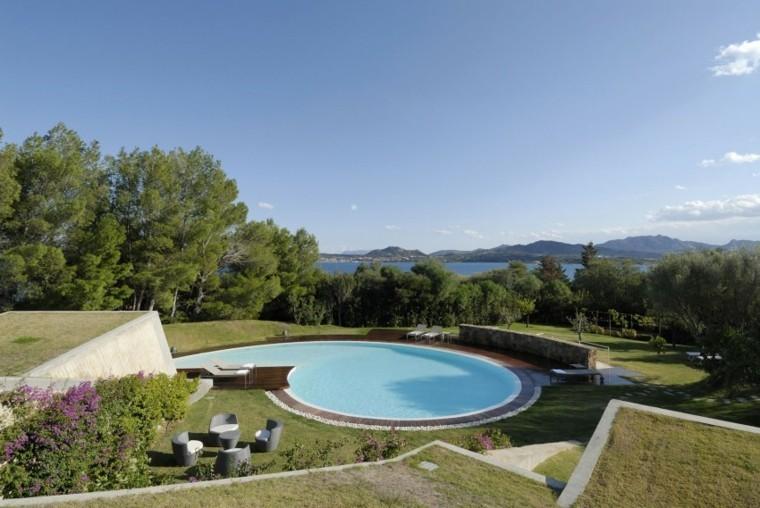 oasis moderno jardin piscina grande redonda ideas
