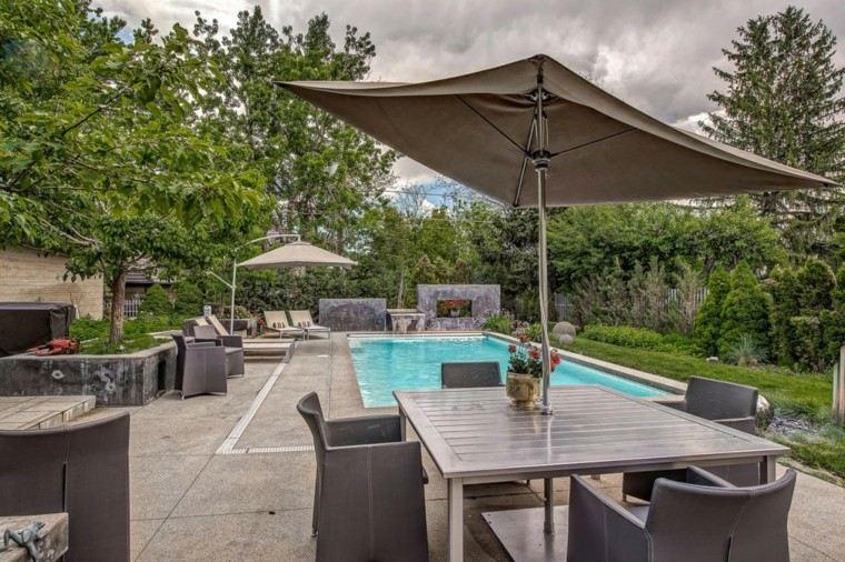 oasis moderno jardin piscina mesa sombrilla ideas