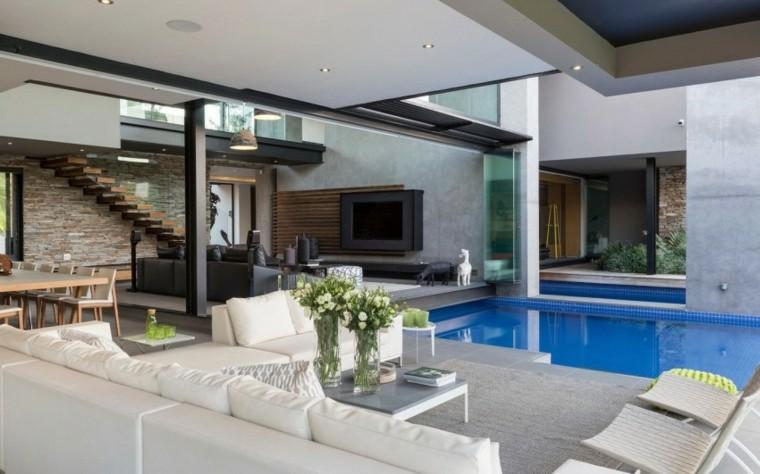 oasis moderno jardin piscina muebles comodos blancos ideas