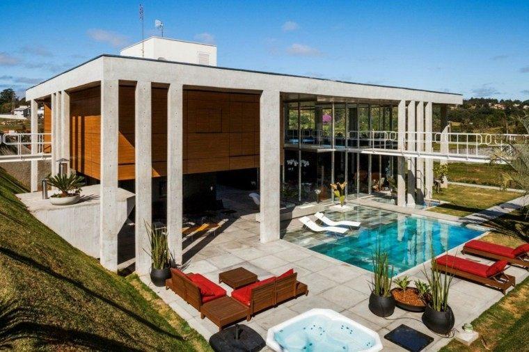 oasis moderno jardin piscina muebles madera ideas