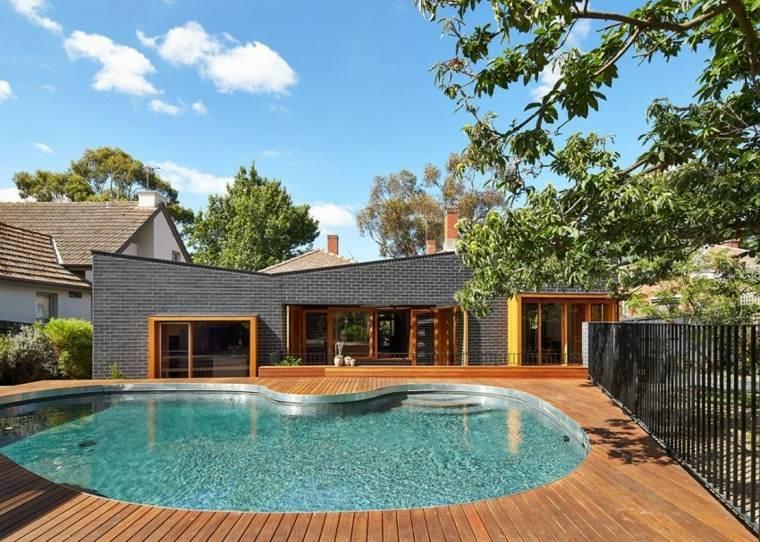 oasis moderno jardin piscina suelo madera casa ideas