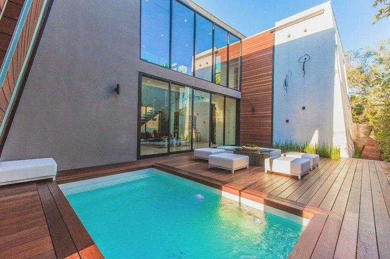 oasis moderno jardin piscina taburetes mesa ideas