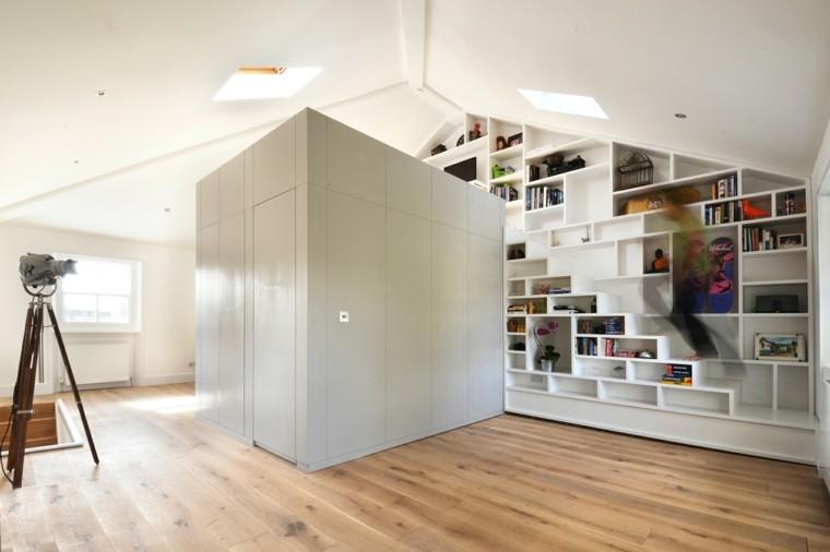 oficina biblioteca suelo madera