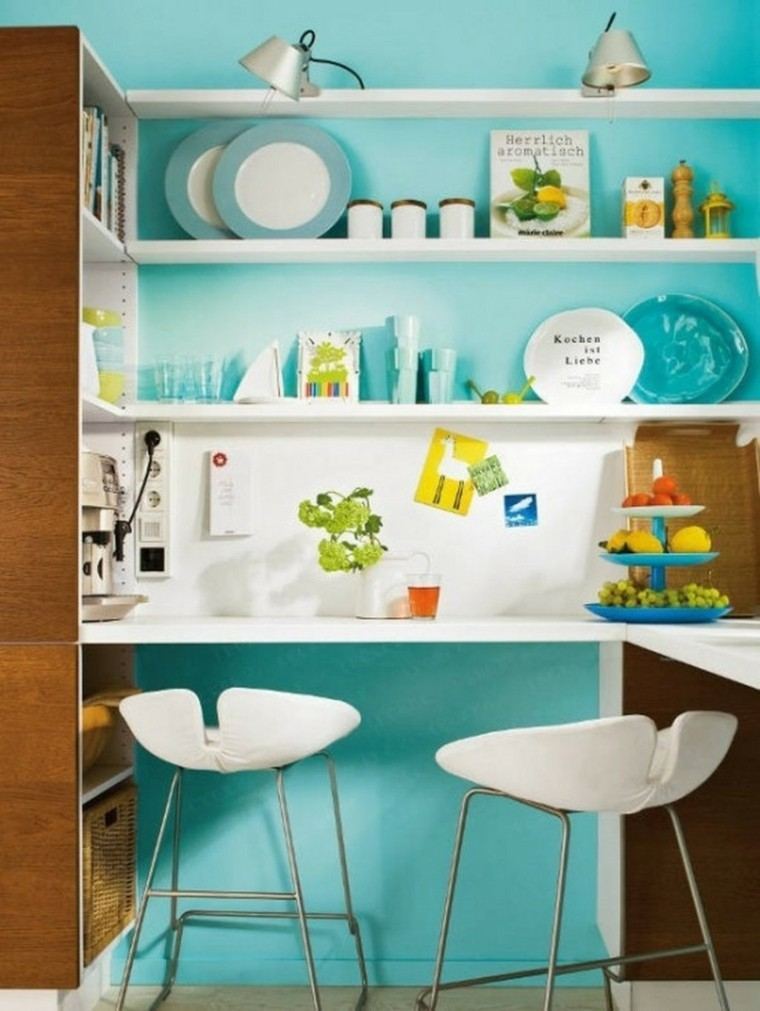 Cocinas pintadas con los colores de moda 50 ideas - Pintar paredes cocina ...