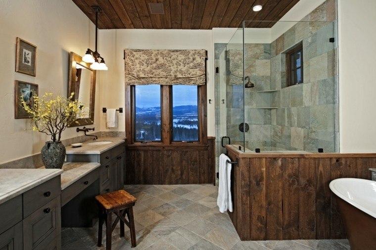 Baños Rusticos En Madera:Cuartos de baño rusticos – 50 ideas con madera y piedra