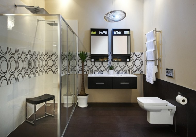 Ba os modernos con ducha cincuenta ideas estupendas - Papel para azulejos de bano ...