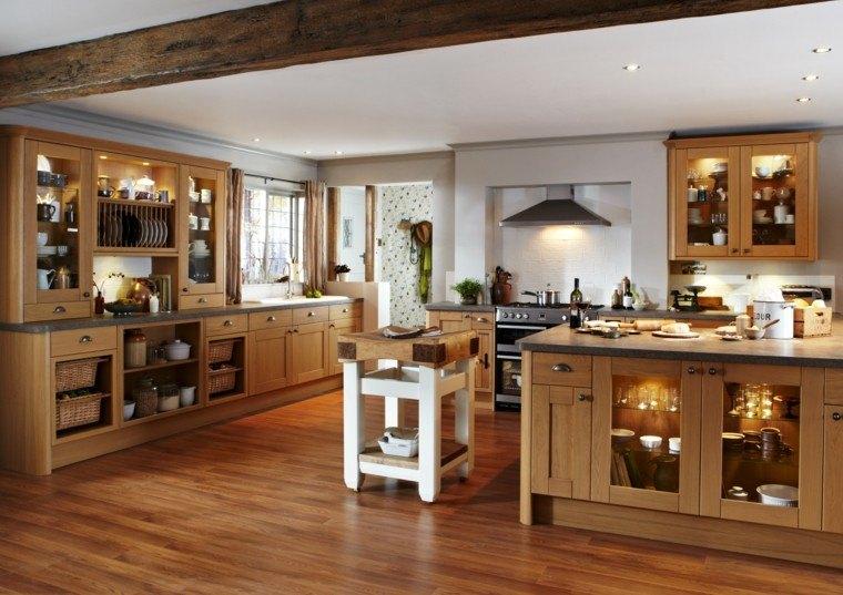 Color blanco y madera de roble para las cocinas modernas for Disenos de muebles de cocina en madera