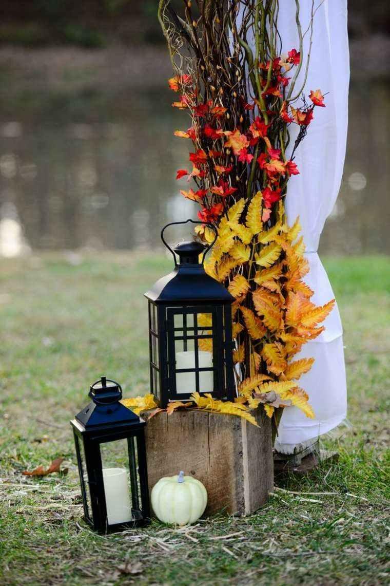 original diseño adorno hojas secas