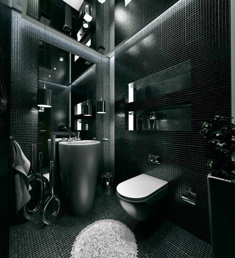 Baño Pequeno Suelo Oscuro:Paleta de colores oscuros para el salón moderno