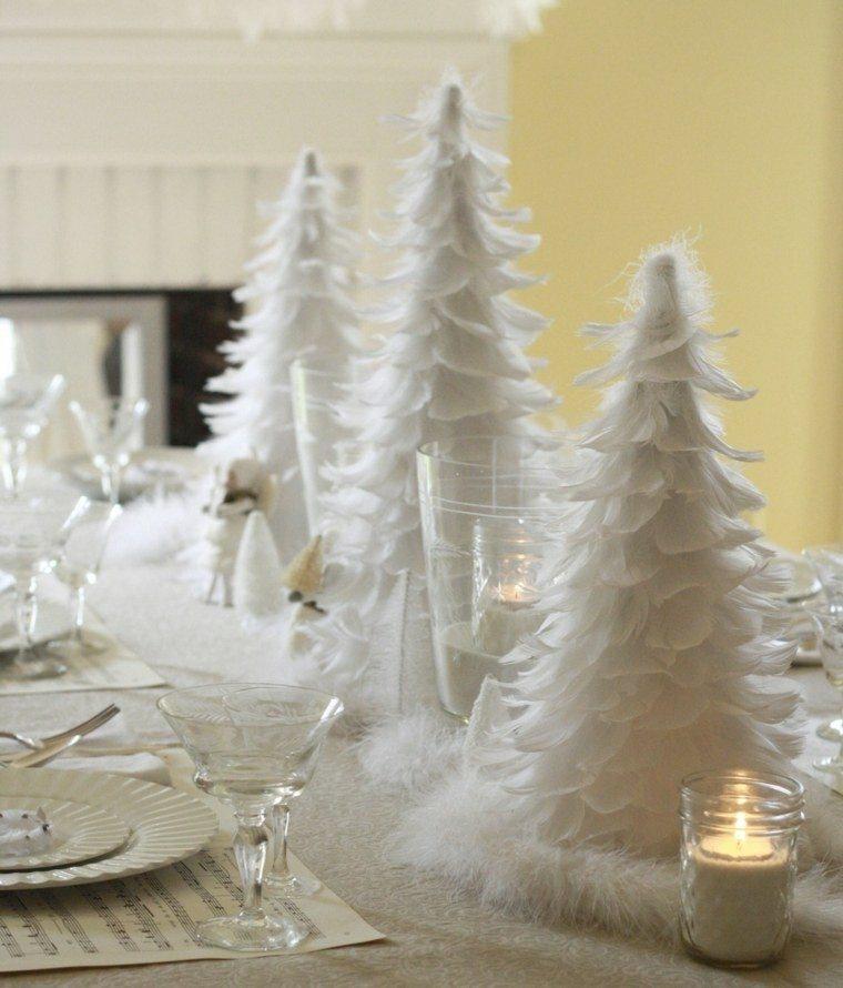 originales arboles navidad plumas blancas