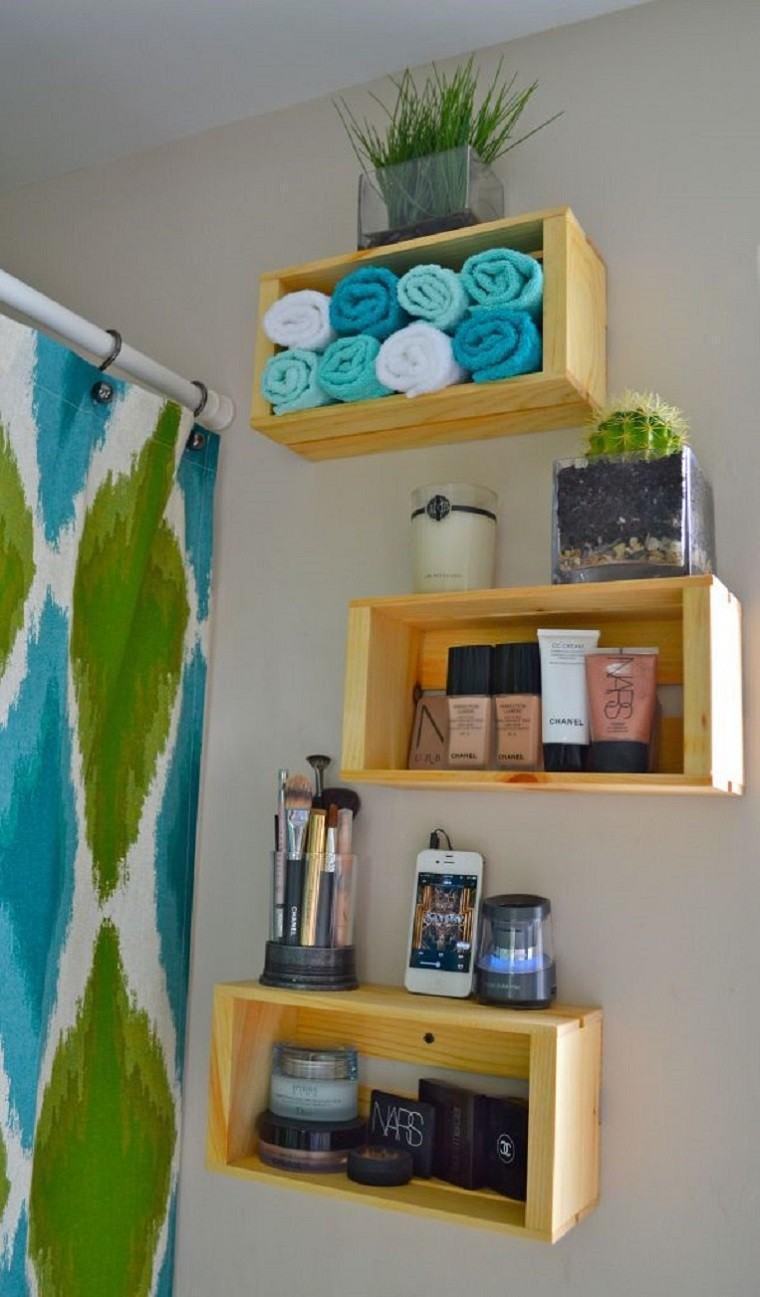 Estantes Para Baño En Madera:cajas de madera como estanterías para baños
