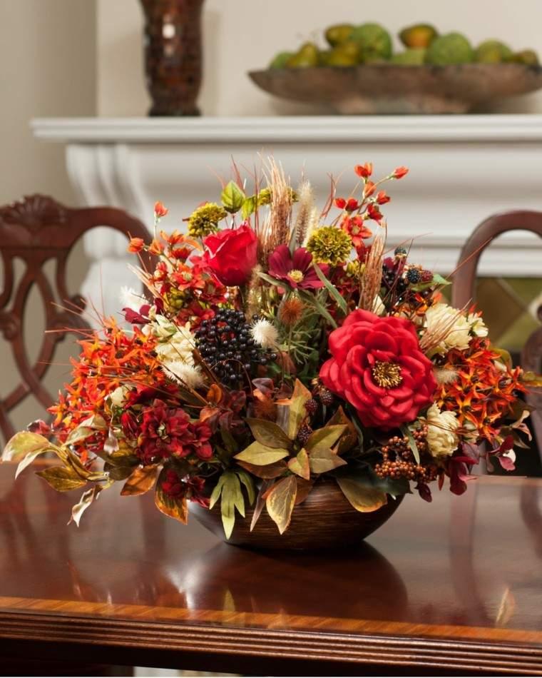 Oto o en casa 50 ideas para decorar tu mesa - Adornos flores secas ...