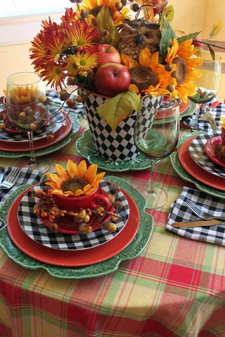 otoño centro girasoles servilletas colorido