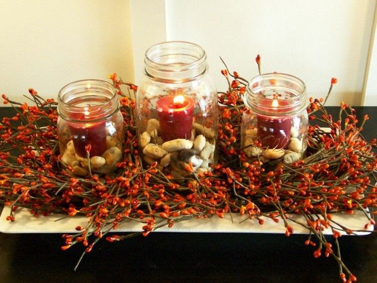 otoño centro rojo velas envases
