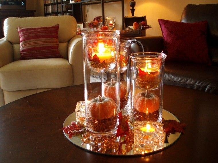 otoño centro mesa elegante hojas secas arbol ideas